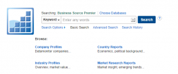 Screenshot of Business Source Premier database search page.