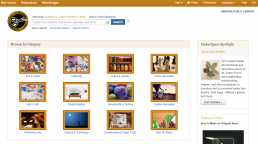 Screenshot of Hobbies & Crafts Reference Center homepage.