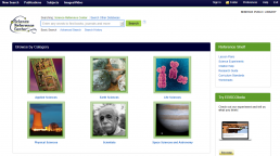 Screenshot of Science Reference Center homepage.